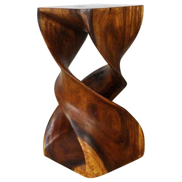 "Handmade Walnut Oil Wood Double Twist Stool - 12"" x 12"" x 23"" (Thailand)"