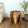 Hand-carved Wooden Blocky Stool (Thailand)