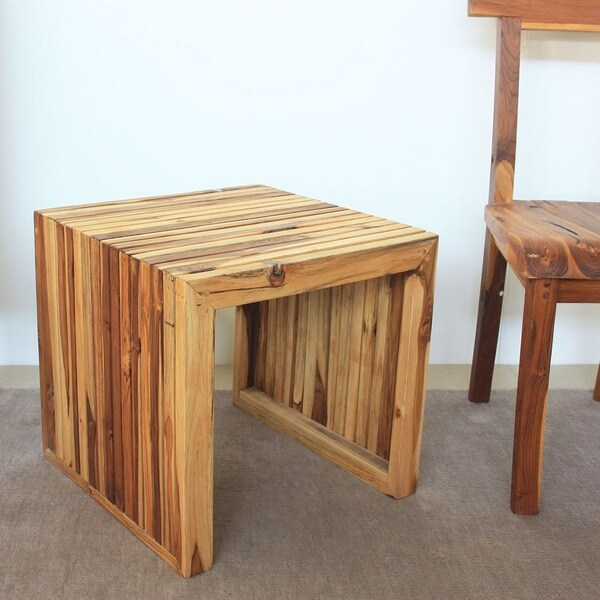 Hand-carved Teak Wood End Table (Thailand)