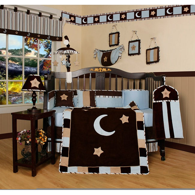 Geeny Blue Moon and Star 13-piece Crib Bedding Set (201-B...