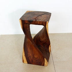10 Inches Square x 18-inch Hand-carved Wooden Twist Stool (Thailand)