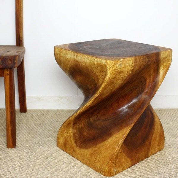 Handmade Wooden Big Twist Stool Thailand Free Shipping