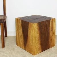 Handmade Wooden Cube 18 Walnut Oil End Table (Thailand)