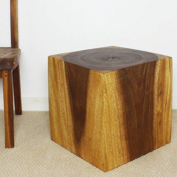 Handmade Wooden Cube 18 Walnut Oil End Table (Thailand)
