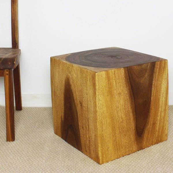 Haussmann Handmade Eco Wood Coffee Table Cube 18 In H