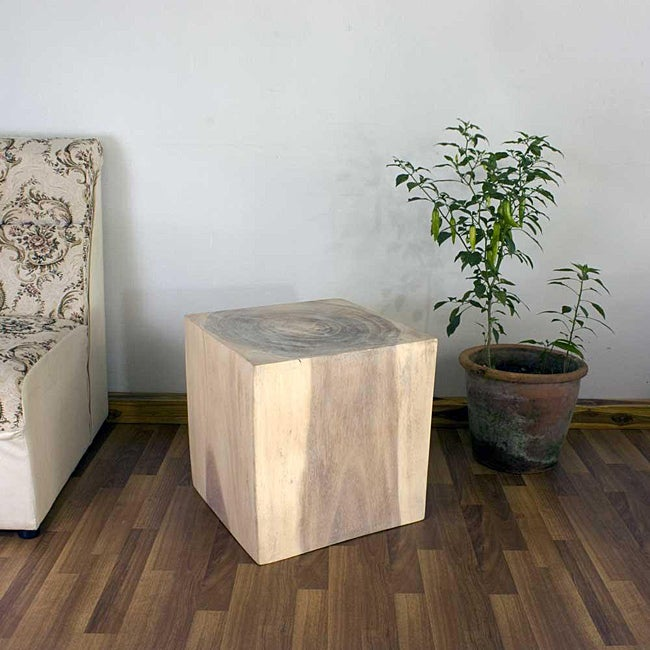 Wooden Cube 18 White Oil End Table (Thailand)
