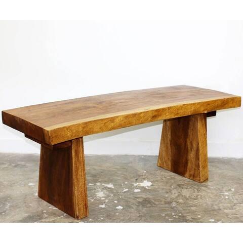 Haussmann Handmade Wood Natural Edge Bench 48 in x 17-20 x 18 in H KD Walnut Oil