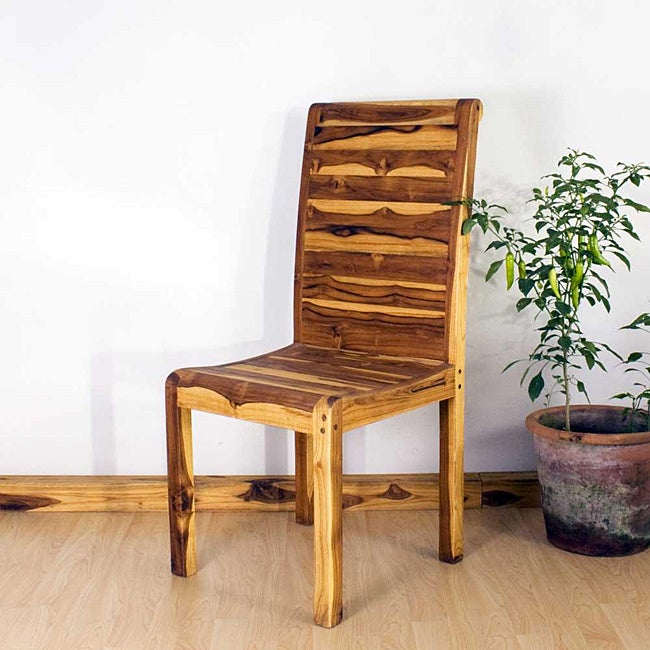 Teak Wood Tung Oil Finish Rolled Dining Chair (Thailand)