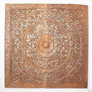 Reclaimed Teak Wood Natural Wax 48-inch Lotus Panel , Handmade in Thailand|https://ak1.ostkcdn.com/images/products/5226516/P13052055.jpg?impolicy=medium