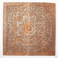 Reclaimed Teak Wood Natural Wax 48-inch Lotus Panel  , Handmade in Thailand