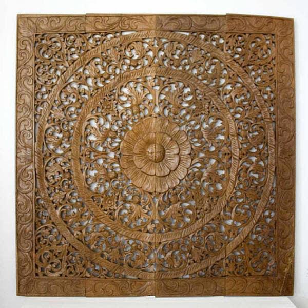 Reclaimed Teak Wood Natural Wax 48-inch Lotus Panel  , Handmade in Thailand