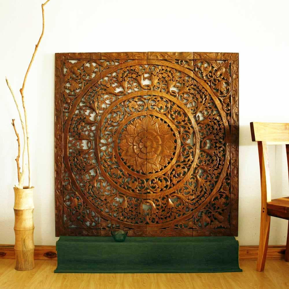Reclaimed teak wood natural wax 48 inch 3d lotus panel Reclaimed wood wall art for sale