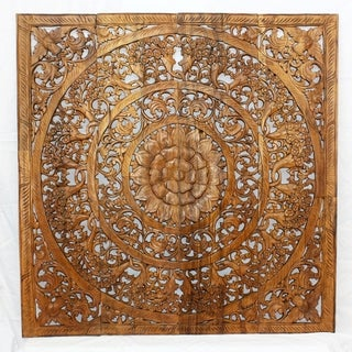 Reclaimed Teak Wood Natural Wax 48-inch 3D Lotus Panel , Handmade in Thailand
