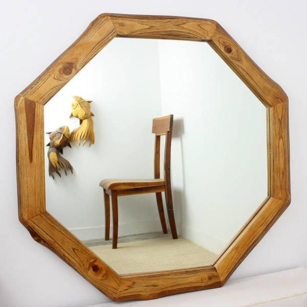 "Handmade Teak Wood Walnut Oil Octagon Mirror - 34"" x 34"" (Thailand)"