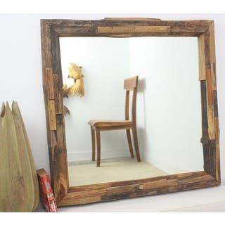 Teak Branch Tung Oil Finish Square Mirror , Handmade in Thailand|https://ak1.ostkcdn.com/images/products/5226538/P13052057.jpg?impolicy=medium