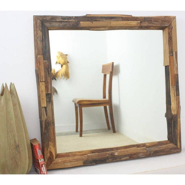 Teak Branch Tung Oil Finish Square Mirror , Handmade in Thailand
