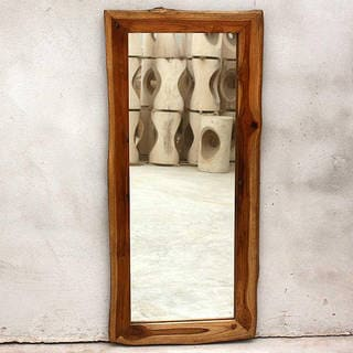 Handmade Teak Wood Walnut Oil Rectangular Floor Mirror (Thailand)