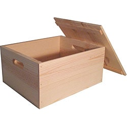 Heavy-duty Unfinished Pine Crate with Lid