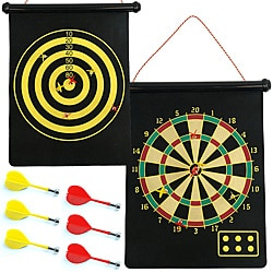Magnetic Roll Up Dart Board/ Bullseye Game w/ Darts - Thumbnail 0