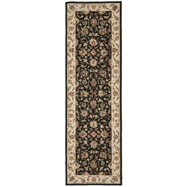 Safavieh Hand-hooked Chelsea Tabriz Black/ Ivory Wool Runner Rug - 2'6 x 12'