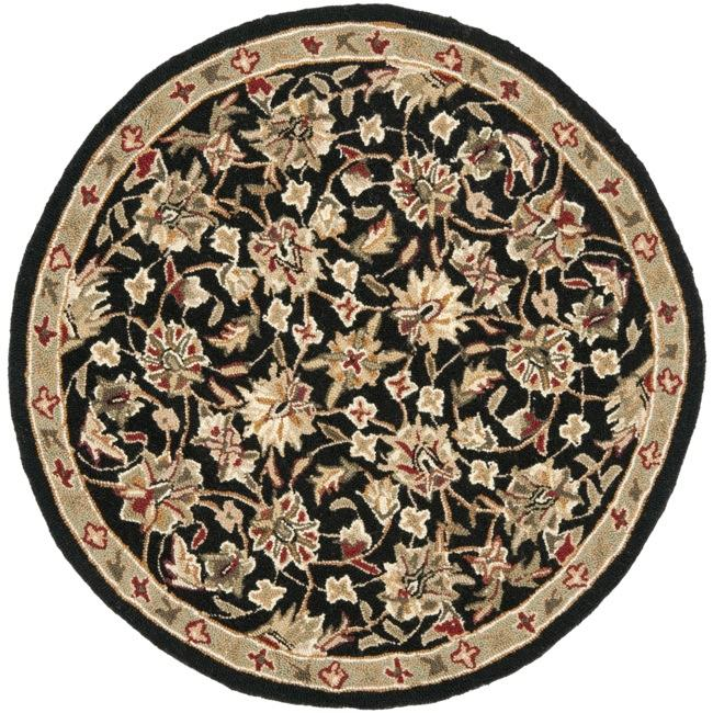 Safavieh Hand-hooked Chelsea Tabriz Black/ Ivory Wool Rug (3' Round)