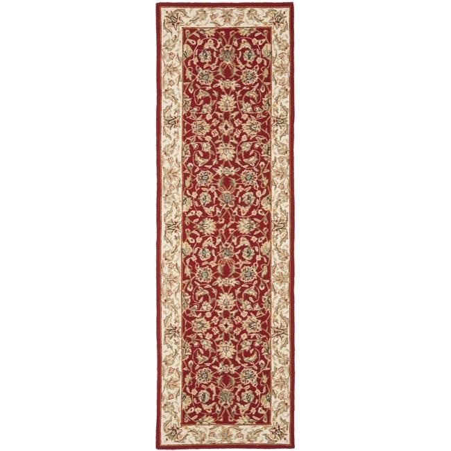 Safavieh Hand-hooked Tabriz Burgundy/ Ivory Wool Runner Rug - 2'6 x 12'