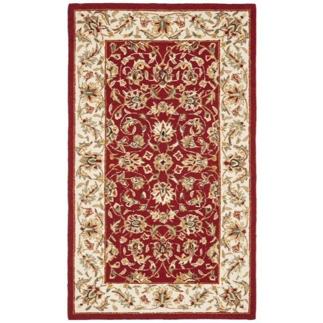 Safavieh Hand-hooked Chelsea Tabriz Burgundy/ Ivory Wool Rug (2' 9 x 4' 9)