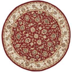 Safavieh Hand-hooked Chelsea Tabriz Burgundy/ Ivory Wool Rug (4' Round)
