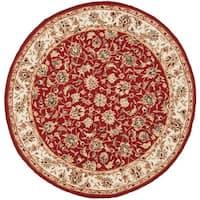 "Safavieh Hand-hooked Chelsea Tabriz Burgundy/ Ivory Wool Rug - 5'6"" x 5'6"" Round"