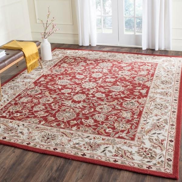 Safavieh Hand-hooked Chelsea Tabriz Burgundy/ Ivory Wool Rug - 7'9 x 9'9