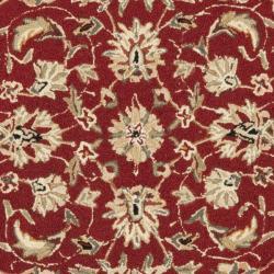 Safavieh Hand-hooked Chelsea Tabriz Burgundy/ Ivory Wool Rug (8' Round) - Thumbnail 2
