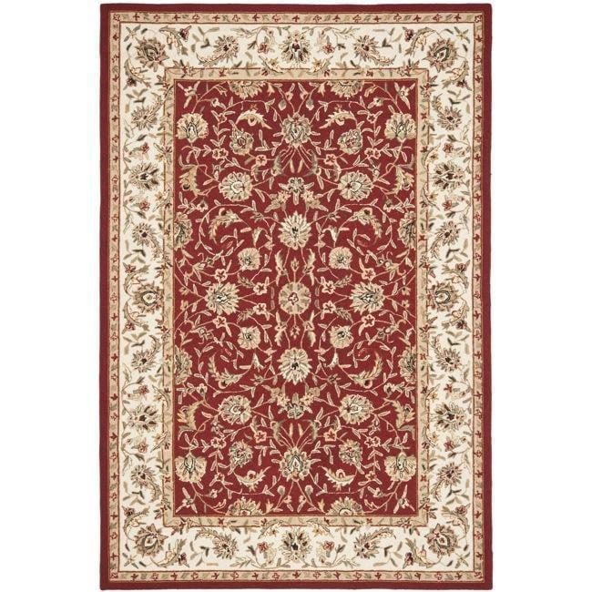 Safavieh Hand-hooked Tabriz Burgundy/ Ivory Wool Rug (8' 9 x 11' 10)