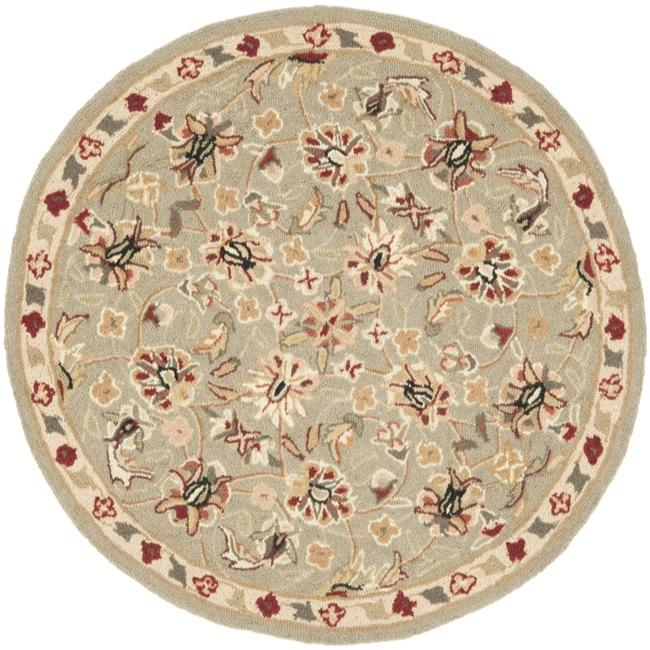 Safavieh Hand-hooked Chelsea Tabriz Sage/ Ivory Wool Rug (3' Round)