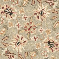 Safavieh Hand-hooked Chelsea Tabriz Sage/ Ivory Wool Rug (3' Round) - Thumbnail 2