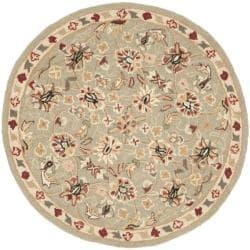 Safavieh Hand-hooked Chelsea Tabriz Sage/ Ivory Wool Rug (3' Round) - Thumbnail 0