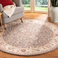 Safavieh Hand-hooked Chelsea Tabriz Sage/ Ivory Wool Rug - 4' x 4' Round