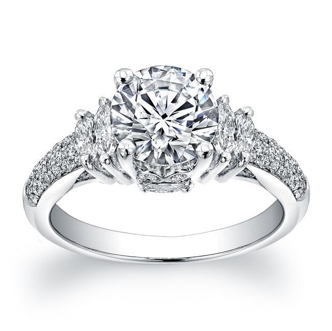 14k White Gold 3/5ct TDW Designer Diamond and CZ Engagement Ring (H, SI1)