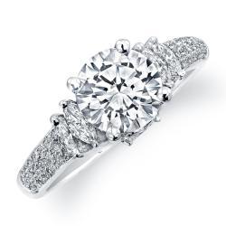 14k White Gold 3/5ct TDW Designer Diamond and CZ Engagement Ring (H, SI1) - Thumbnail 1