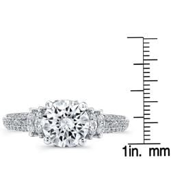 14k White Gold 3/5ct TDW Designer Diamond and CZ Engagement Ring (H, SI1) - Thumbnail 2