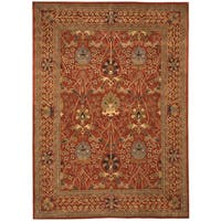 Hand-tufted Wool Rust Traditional Oriental Morris Rug (8'9 x 11'9) - 8'9 X 11'9