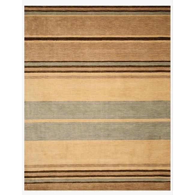 Hand-tufted Wool Beige Contemporary Stripe Alden Rug (7'9 x 9'9)
