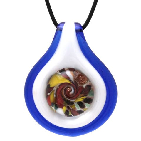 Murano Inspired Glass Cobalt Blue Button Pendant