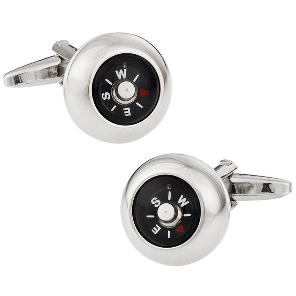 Cuff Daddy Rhodium Plated Functional Compass Cuff Links