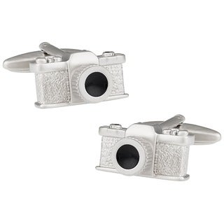 Cuff Daddy Rhodium Black Enamel Camera Cuff Links