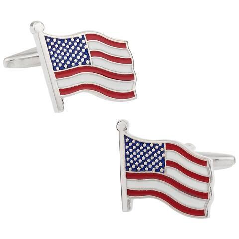 Cuff Daddy Rhodium Wave Your Flag Cuff Links
