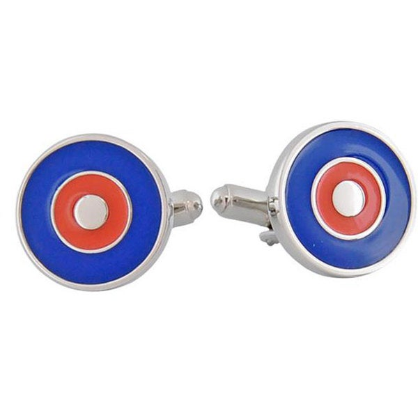 Cuff Daddy Rhodium Red and Blue Bullseye Cuff Links