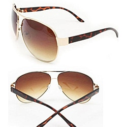 Women's Brown Metal Aviator Sunglasses