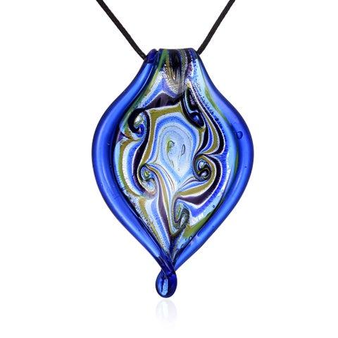 Glass Blue Twisted Leaf Swirl Pendant