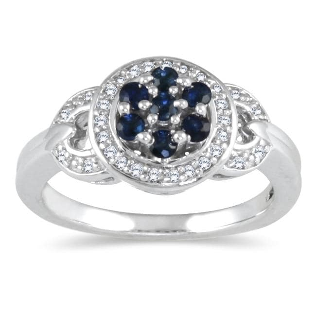 Marquee Jewels Sterling Silver Sapphire and 1/6ct TDW Diamond Antique Ring (H-I, I2-I3) (Size 7)