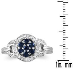 Marquee Jewels Sterling Silver Sapphire and 1/6ct TDW Diamond Antique Ring (H-I, I2-I3) (Size 7) - Thumbnail 2